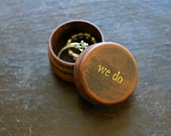 Ring bearer box, tiny wooden ring box, ring bearer accessory, ring warming, pine ring box, We Do in gold, hand stamped, wedding ceremony box