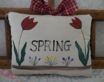 Primitive Spring Wall Hanging Sign Tulips Crocus Spring Pillow Tuck Decor