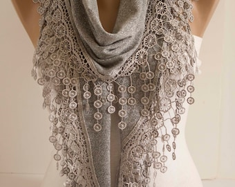 Light grey Lace Shawl Scarf Lace Gray Spring Scarf  Shawl Scarf Summer scarf Gifts for mom Gift Ideas For Her Women Fashion Accessories