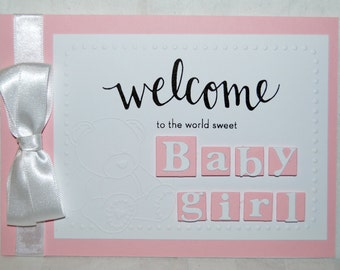 Handmade - New Baby Boy / Girl Card - Personalised - New Arrival - Welcome to the World