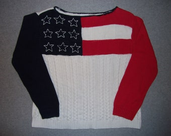 Red White & Blue American Flag Sweater Long Sleeve Hipster Tacky Gaudy Ugly Christmas Party X-Mas Holiday Winter Warm M Medium