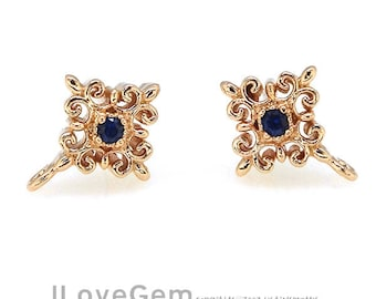 2pcs, NP-1943 Rose Gold, Blue Sapphire, Montana, 2mm Cubic, Earrings, Ear stud, 925 sterling silver post