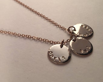 Rose Gold hand stamped name necklace, 3 names, stamped jewelry, initial disc