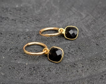 Black earrings, Small hoop earrings, Gold filled hoops, Square earrings, Minimalist earrings, Onyx earrings, Minimalist hoops, Hoop earrings