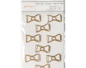 SALE Bowtie Paper Clips (9/Pkg) Gold Bowtie Paperclips • Cute Paper Clips • Planner Supplies (370820)