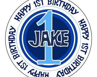 personalized happy 1st birthday label stickers, blue first birthday stickers, custom birthday labels, 3 sizes available