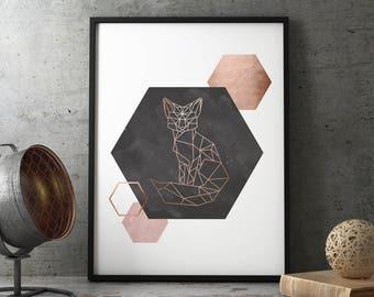 Rose Gold Wall Art, Scandinavian Wall Art, Blush Pink Wall Art, Fox Wall Art, Geometric Fox Art, Copper Wall Art, Printable Art, Digital Art
