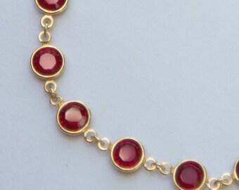 Gold Ruby Bracelet, July Birthstone Jewelry, Ruby Red Swarovski Crystal Bracelet, Red Bridesmaids Jewelry