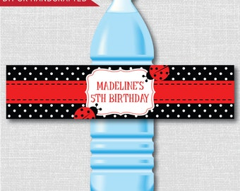 Ladybug Party Water Bottle Labels - Ladybug Birthday or Baby Shower - Weatherproof Labels - Digital or Handcrafted - FREE SHIPPING