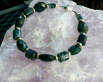 Moss Agate and Sterling Silver bracelet