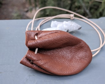 Leather Medicine Bag, Crystal, Keepsakes, Talisman Pouch or Hippie Necklace in Caramel Brown Goatskin