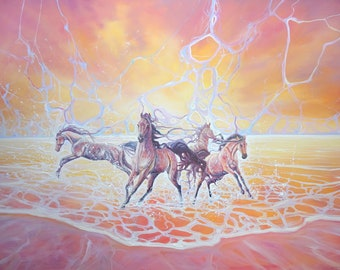 LARGE ORIGINAL Oil Painting - Elemental - a sunset seascape with horses