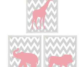 Nursery Art Prints  - Elephant Giraffe Lion Safari Zoo - Chevron Pink Gray Animal - Children Girl Room Home Decor