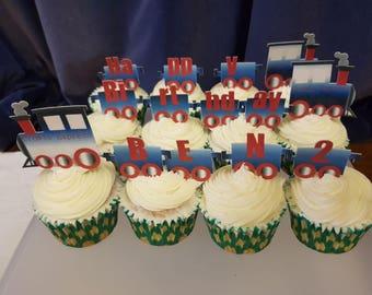 Cupcake 'Choo Chew Train' Personalised Edible Cake Decorating Set