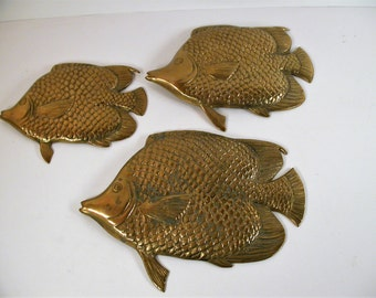 Brass Fish Wall Ornaments, Vintage made in Korean Set of 3 Brass Fish, Wall Decor
