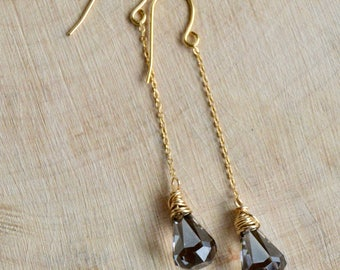 Crystal Satin Raindrop Earrings