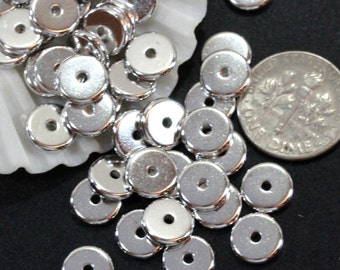 Heishi Disk Coin Beads, 8 mm, TierraCast, Spacer Beads, Accent Beads, 8mm, Non-Tarnishing Rhodium Plated Pewter, 20 or More Pieces, 4461