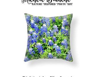 Bluebonnet Photo Pillow, Texas Blue Bonnet Field Pillow Case, Purple and Green Field Throw Pillow, Texas Wild Flower Cushion Case
