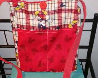 Handmade plaid Mickey Mouse reversible crossbody bag