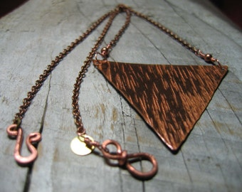 Triangle Necklace, Inverted Triangle, Hammered Copper Triangle, Geometric Necklace, Handmade, Bridesmaid Gift, Boho, Simple, Copper Necklace