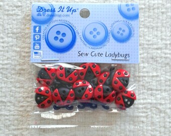 """Ladybug Buttons - """"Sew Cute Ladybugs"""" by Dress It Up - Packages of 12                                                        02/2018"""