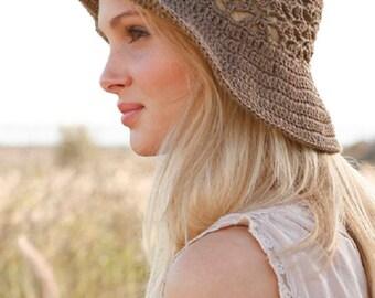 Summer hat linen hat beach hat lace crochet hat linen hat handknitted hat cotton hat country hat women hat brown hat Lilith