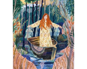 Illustrated art print The Lady of Shalott A3 Print (11.69 in x 16.54 in)