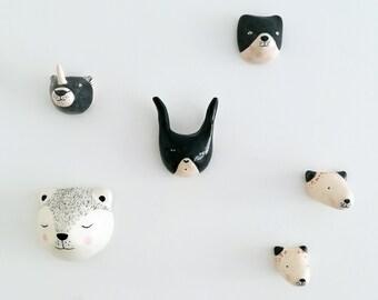 Totem céramique lapin, ours, bestioles - Miniatures en céramique - cadeau orignal - déco chambre enfant - cadeau naissance - Déco murale