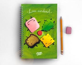A5 Notebook, Writing journal, spiral notebook, kawaii  journal, cute journal, diary, sketchbook, blank lined grid - food kawaii notebook