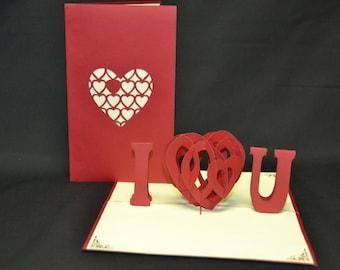 3-D Love Pop-Up Card, 3-D Love Pop-Up Card, valentines card, valentines greeting card, valentines popup card, 3d valentines card