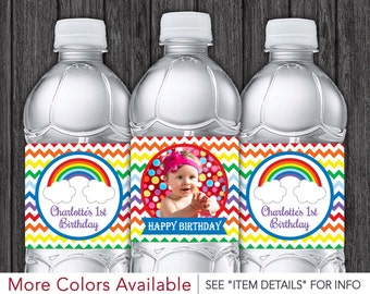 Rainbow Water Bottle Labels | Printable Rainbow Birthday Party Decorations | DIY Digital File