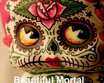 Beautiful Mortal Adorable Dia De Los Muertos Deadey Betty Boop PRINT 315 by Michael Brown
