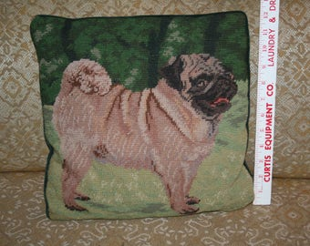 """Vintage Needlepoint Pillow Shows a Truly Pugnacious Pug Doggie!  Very Cute!  Tongue Hanging Out, Curled Tail, """"I Don't Care"""" Expression!"""