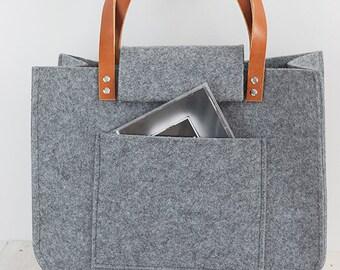 Grey felt tote bag, Felt Bag, Large Tote, For Shopping, Shopper Bag, Leather Handles, Tote Bag, Tote Felt, shoulder bag, Handbag, Spring
