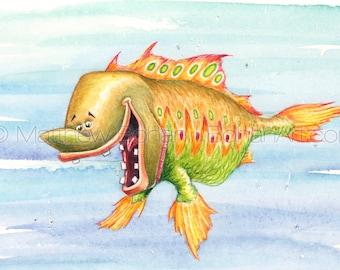 "PRINT of ""Picklefish"" Crazy Fish, Fish Art, Fish Painting, Fish Print, Kids Room, Fishing Gift, Watercolor, Funny Fish, Cartoon, Caricature"