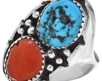 Genuine Turquoise Coral Navajo Mens Ring Smooth Sterling Shank Any Size