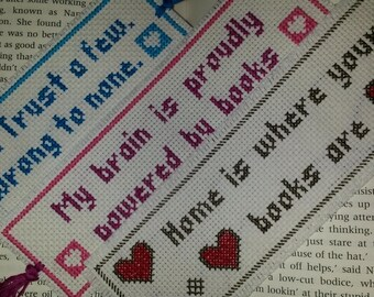 Custom cross-stitched quote bookmark - Choose your own quote.
