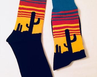 Mens Socks | Colorful Socks | Desert Socks || Gift for Men | Cool Socks | Funky Socks | Patterned Socks