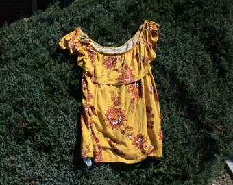 Yellow Floral Off-Shoulder Top - Medium