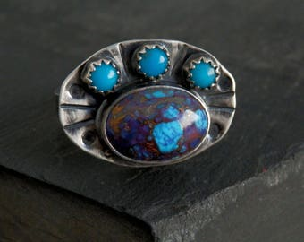 Turquoise statement ring / sterling and turquoise ring / silver ring / turquoise jewelry / December birthstone jewelry / purple turquoise