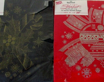 Vintage 1950s  Kaycrest STARDUST Sparkle  Christmas Wrap Paper Red and Silver, Brown and Gold 4 sheets Unopened  Tags & Seals