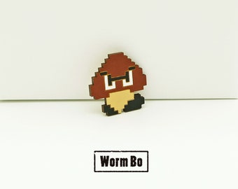 Goomba pin, Super Mario brooch, Wooden pins and brooches, 8 bit