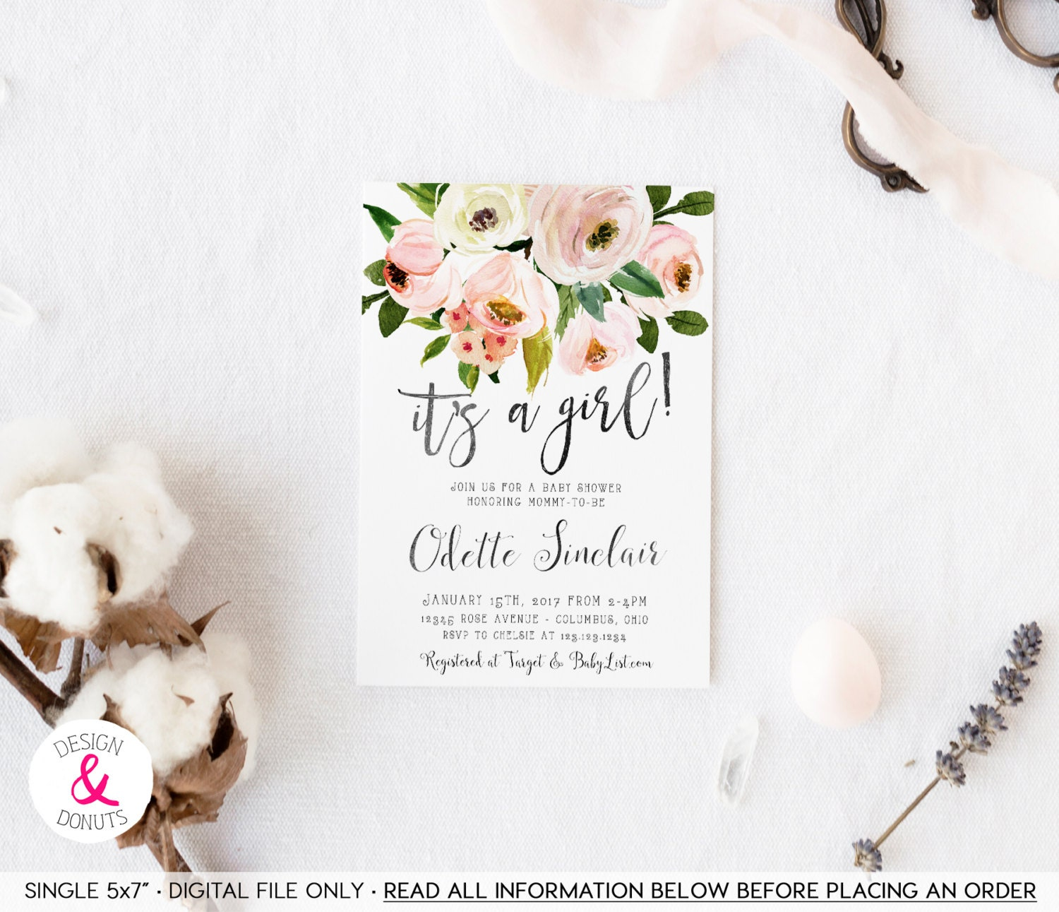 Country Floral Baby Shower Invitation It\'s a Girl
