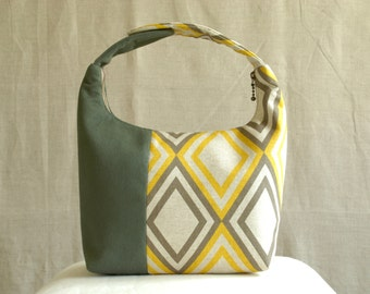 Women Lunch Bag, Insulated Lunch Bag, Chevron Small Purse, Work Lunch Bag, Reusable Lunch Tote, Yellow Gray Diamond Olive Green Colorblock