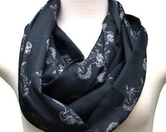 Unicorn Scarf Horse scarf infinity scarf Printed Scarf Women Fashion Accessories birthday Gift for her birthday gift black animal scarf gift