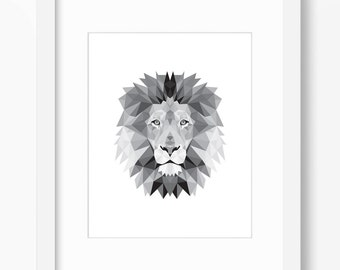 Lion Print, Lion Art, Lion Wall Art, Geometric Lion Print, Lion Print, Origami Lion Print, Lion Face, Geometric Lion Art, Triangle Lion Art
