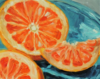 Life Fruit Painting - Original Oil Painting - Grapefruit on Blue - 6 x 6