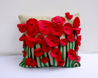 red poppies  handwoven pillow