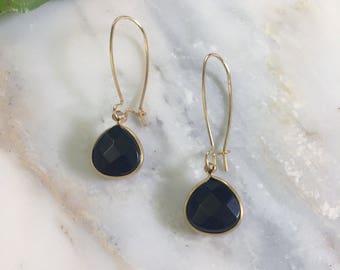 30% OFF SALE Gold Wire Teardrop Black Onyx Gemstone Earrings