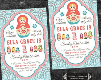 Babushka baby doll birthday party invitations. Matryoshka doll birthday party invitations printable.
